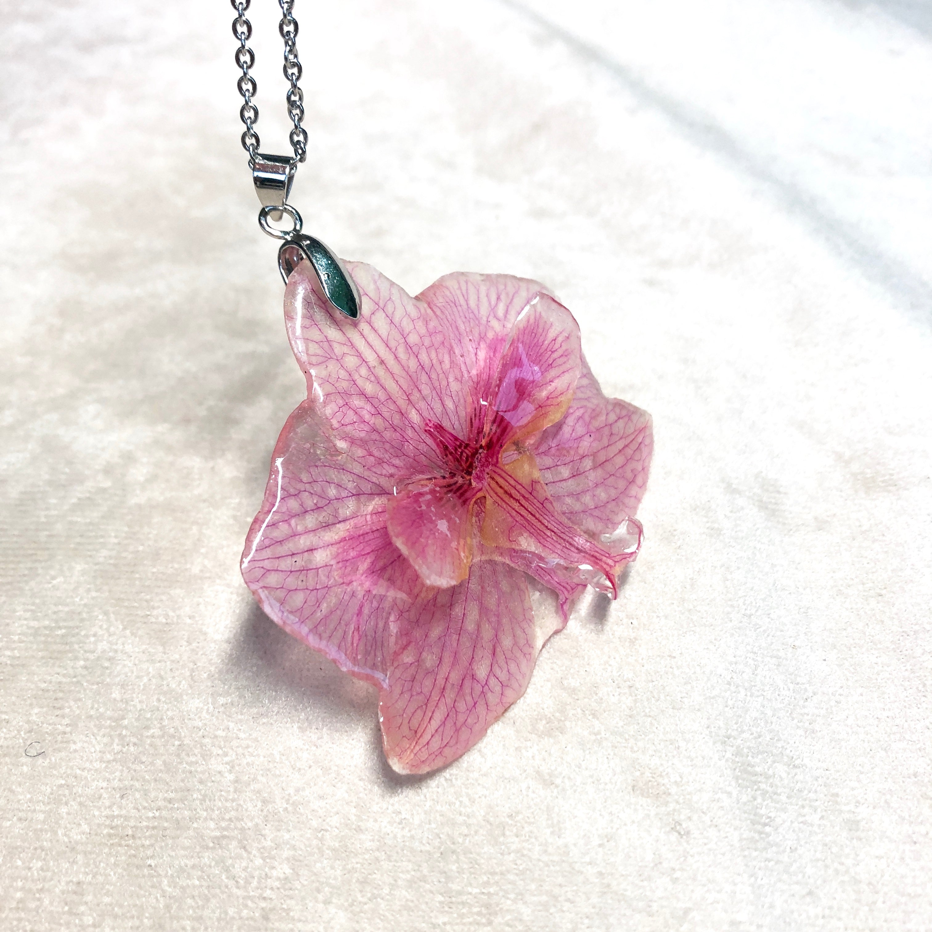 Pink 3D orchid necklace