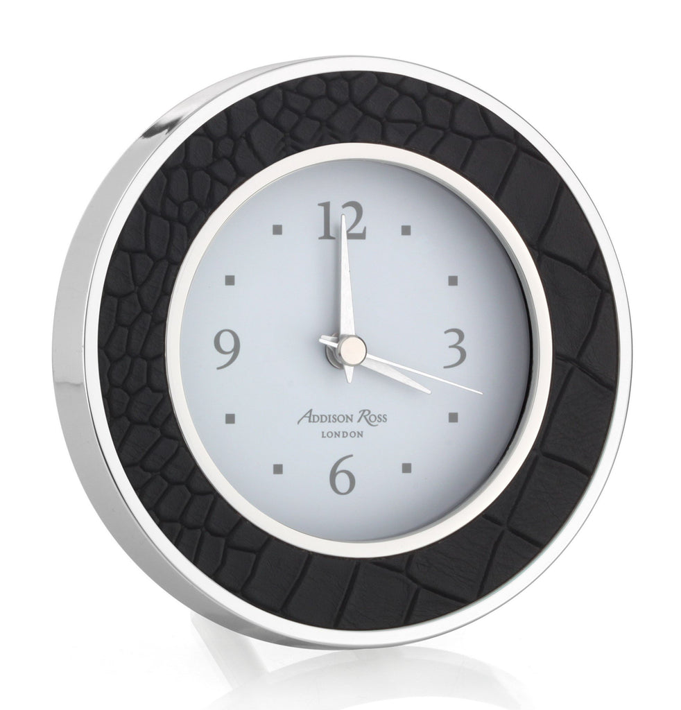 Black Croc Silver Alarm Clock - Addison Ross Ltd UK