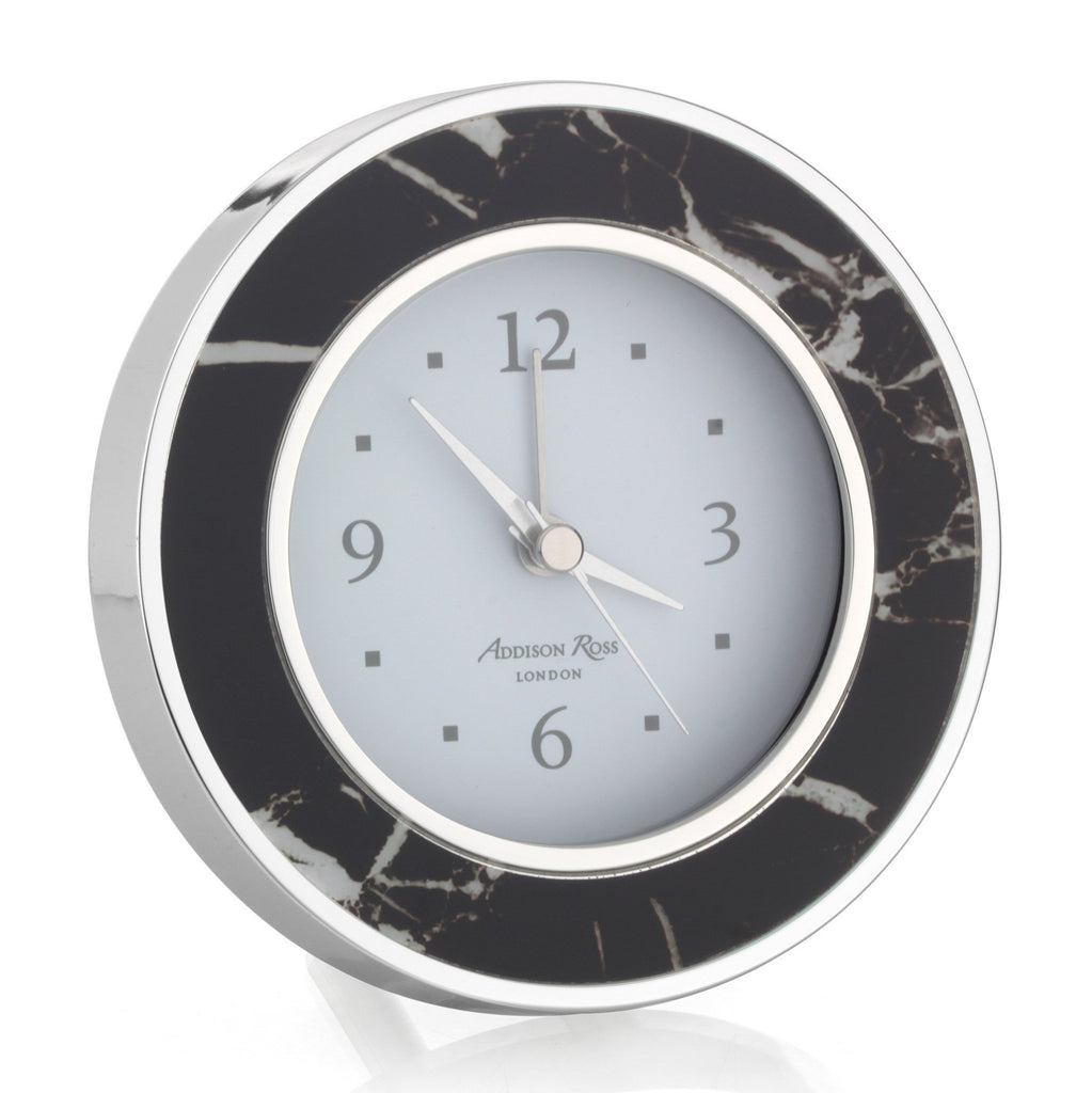 Black Marble Silver Alarm Clock - Addison Ross Ltd UK