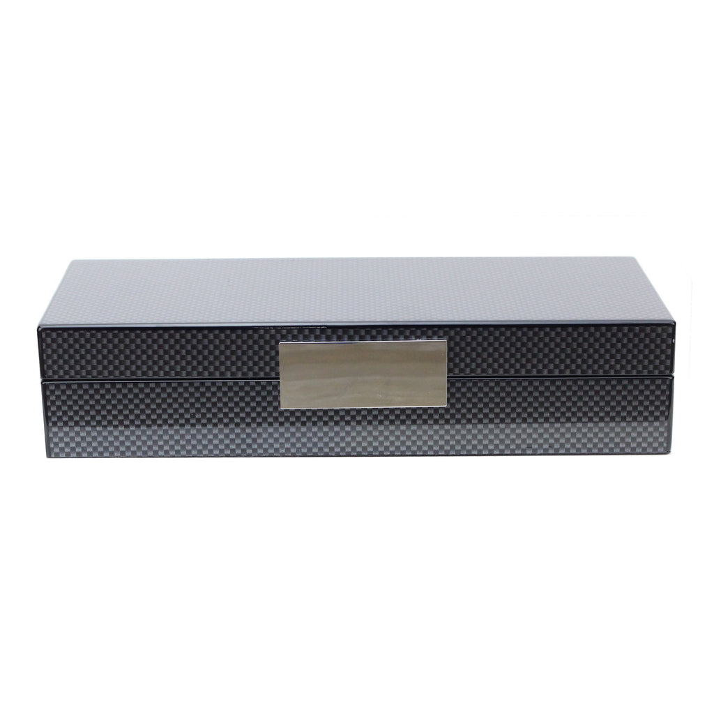 Carbon Fibre Lacquer Box with Silver - Addison Ross Ltd UK