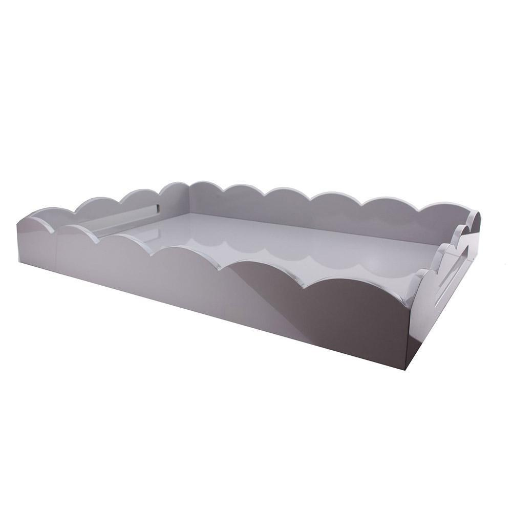 Chiffon Grey Large Lacquered Scallop Ottoman Tray - Addison Ross Ltd UK