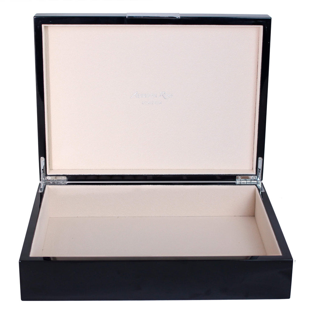 Large Black Lacquer Box With Silver - Addison Ross Ltd UK