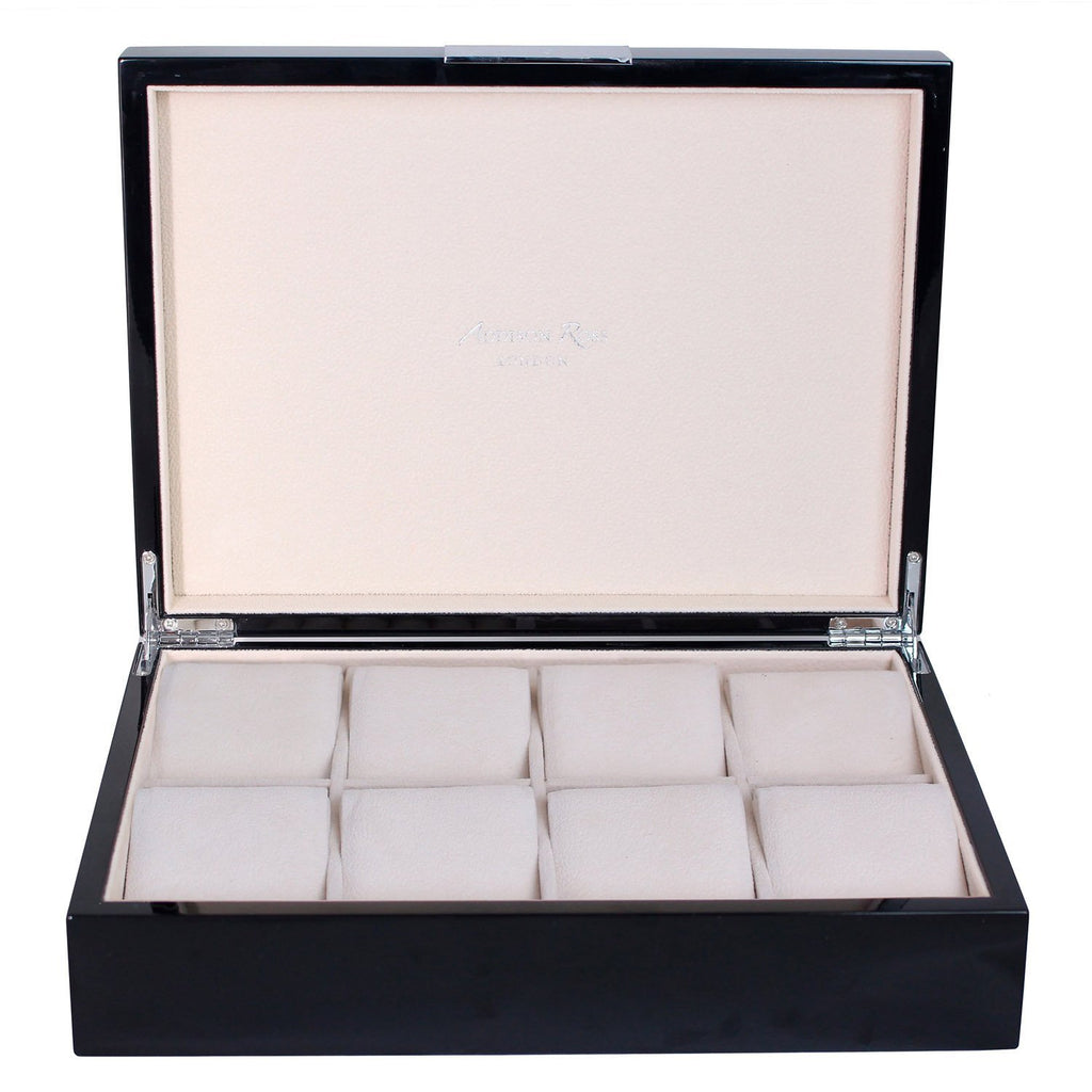 Large Black Watch Box with Silver - Addison Ross Ltd UK