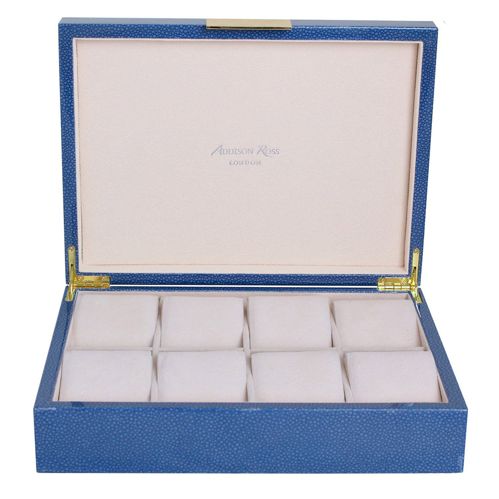 Large Blue Shagreen Watch Box with Gold - Addison Ross Ltd UK