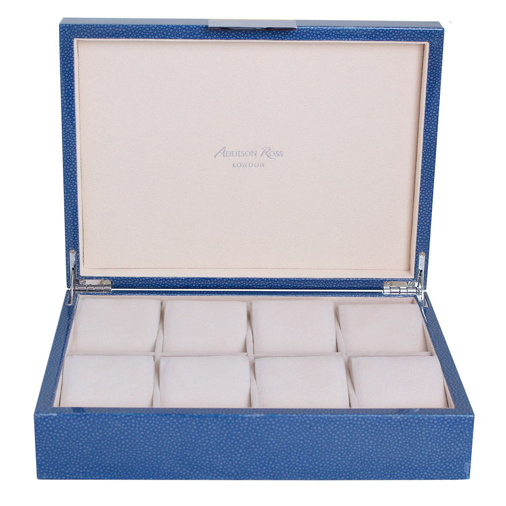 Large Blue Shagreen Watch Box with Silver - Addison Ross Ltd UK
