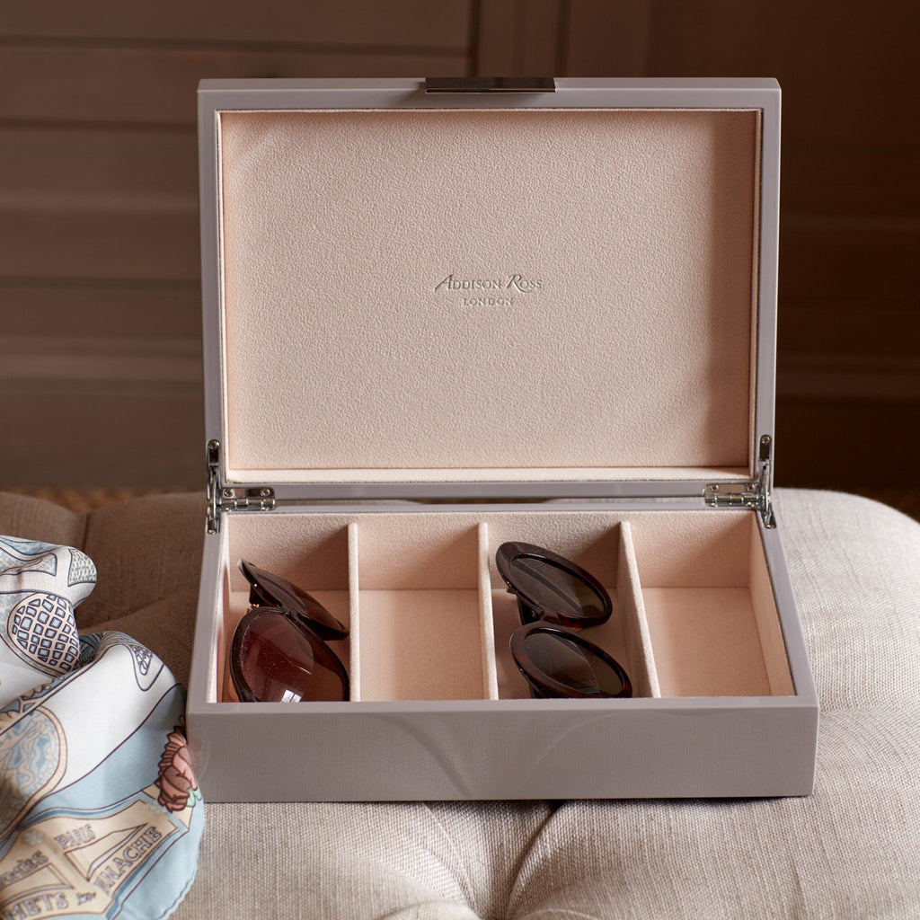 Large Chiffon Grey & Silver Glasses Box - Addison Ross Ltd UK