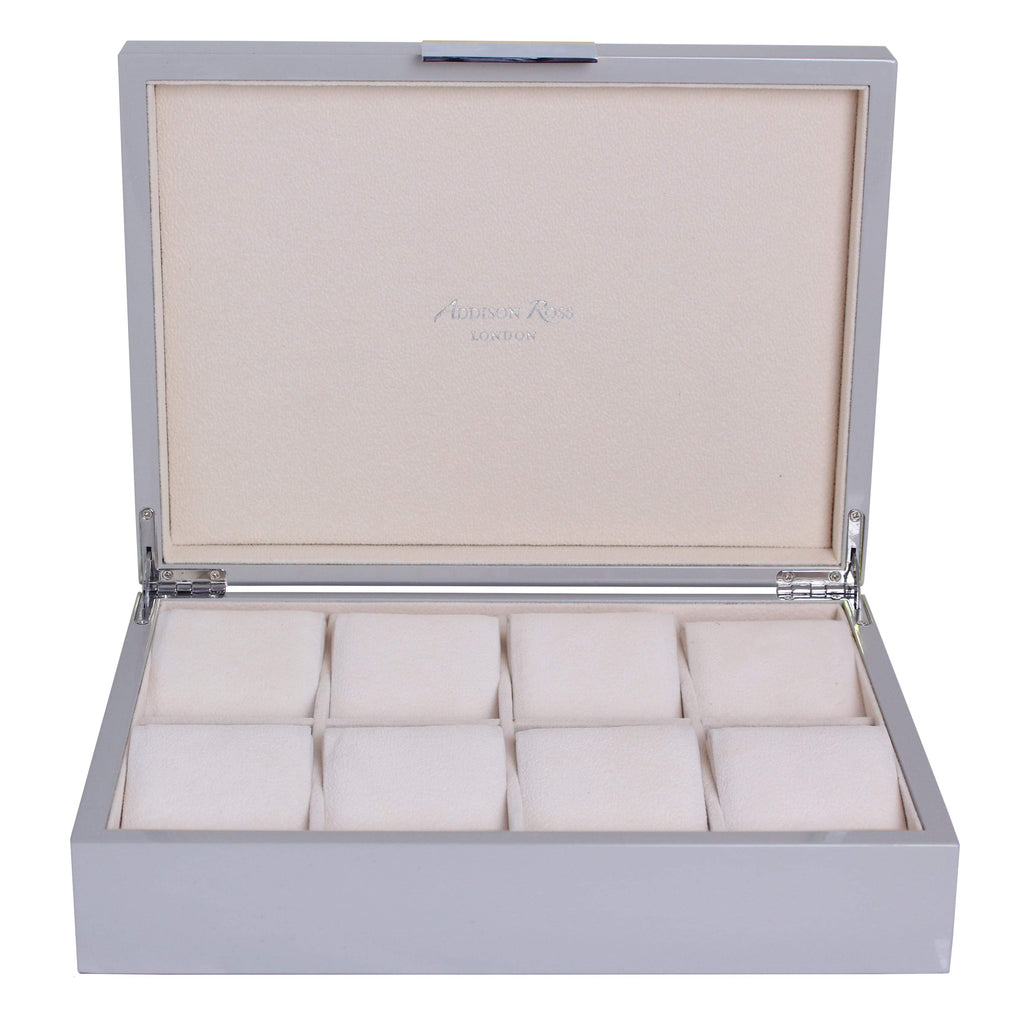 Large Chiffon Grey & Silver Watch Box - Addison Ross Ltd UK