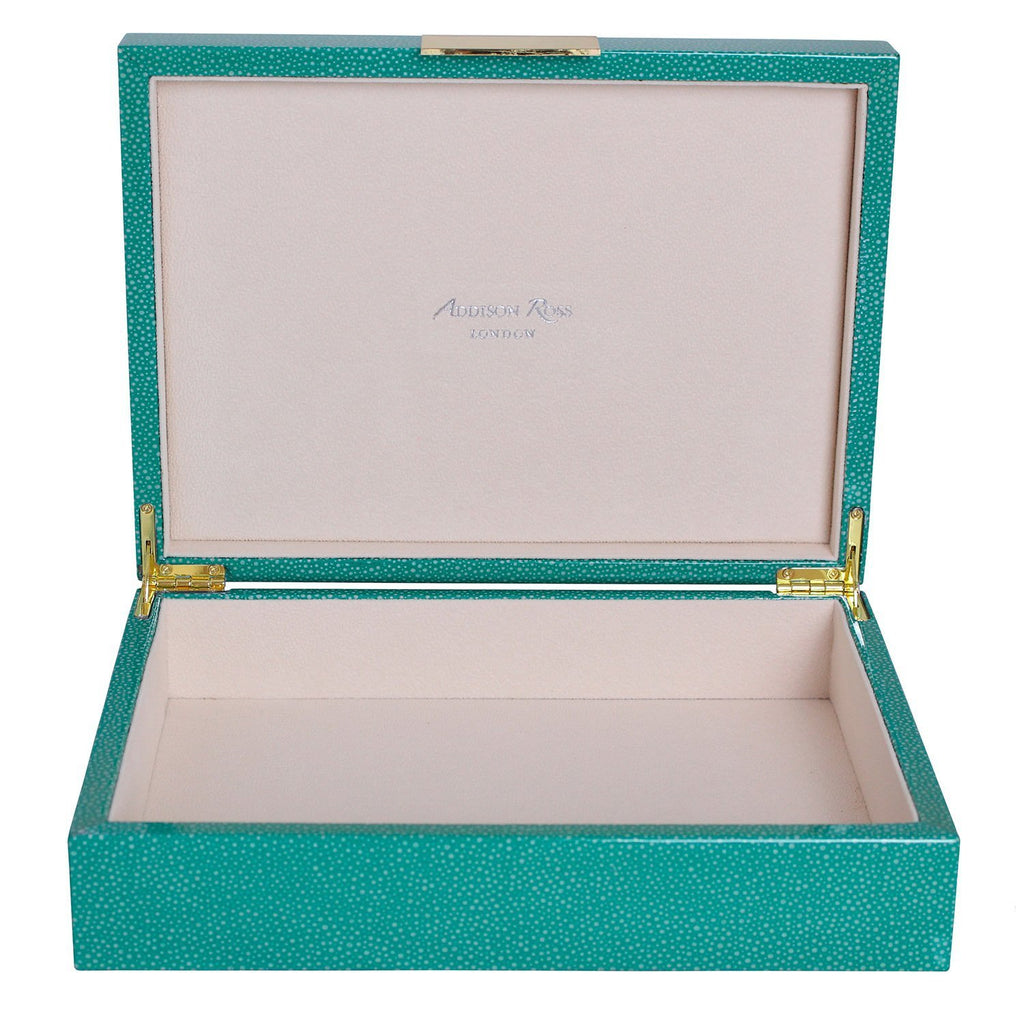 Large Green Shagreen Lacquer Box with Gold - Addison Ross Ltd UK