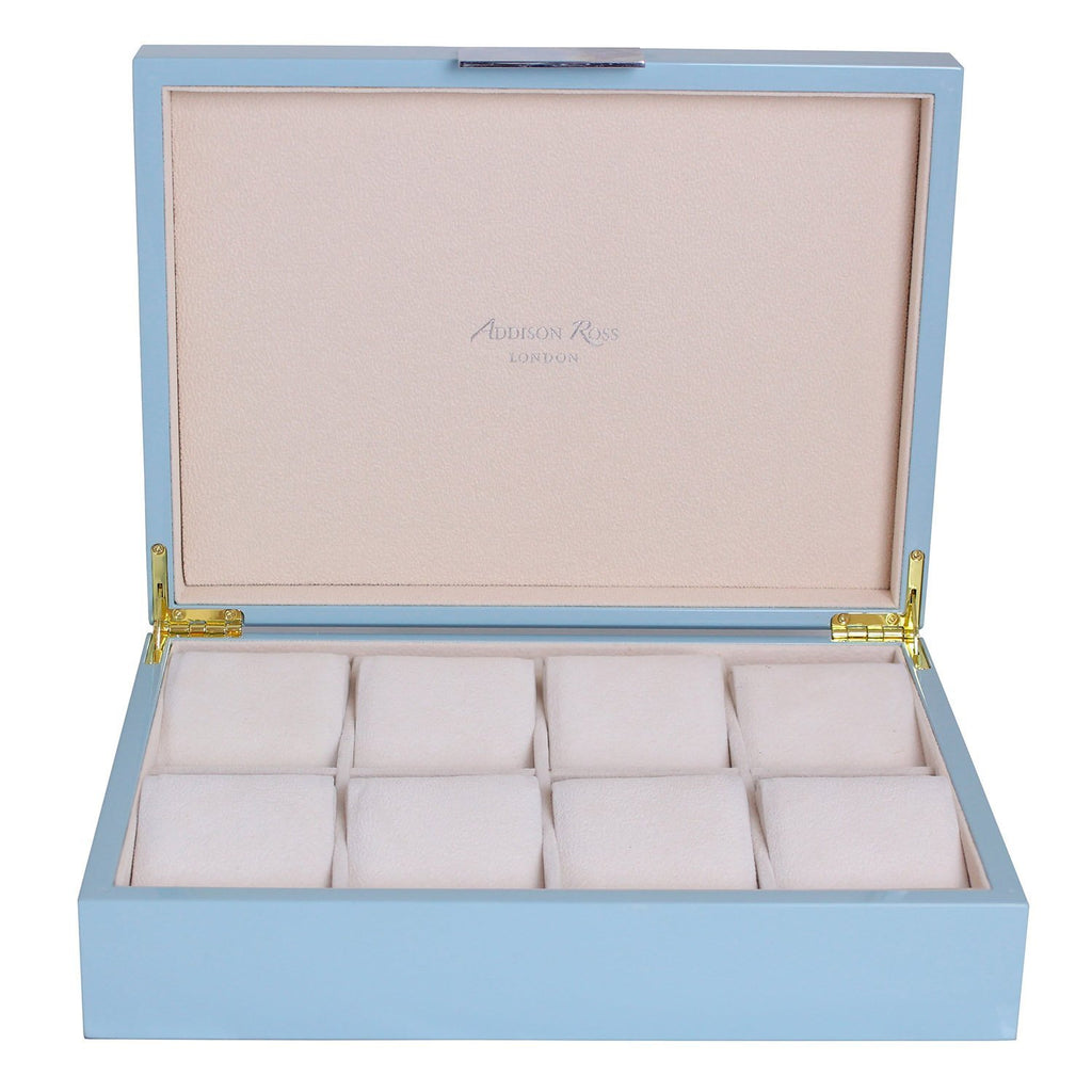 Large Pale Denim Watch Box with Silver - Addison Ross Ltd UK