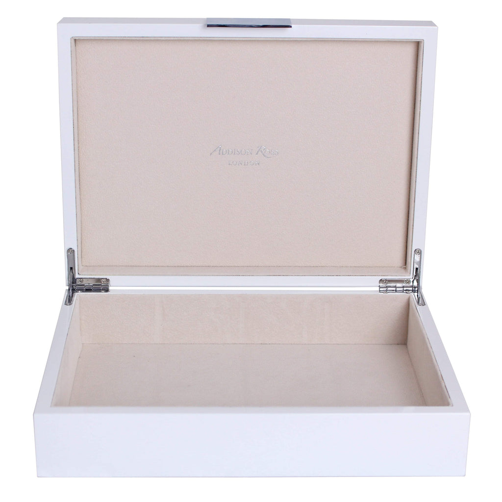 Large White Lacquer Box With Silver - Addison Ross Ltd UK