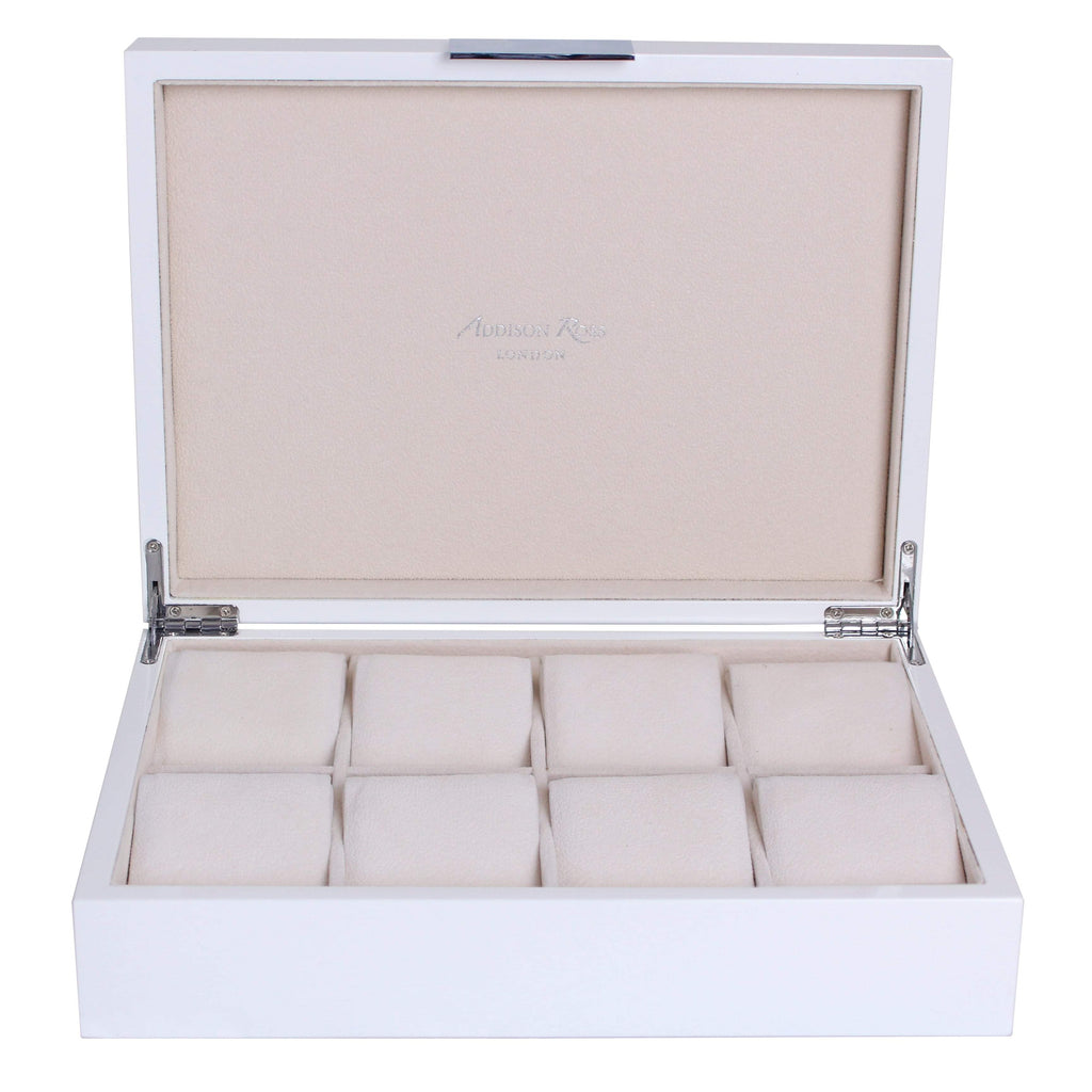 Large White & Silver Watch Box - Addison Ross Ltd UK