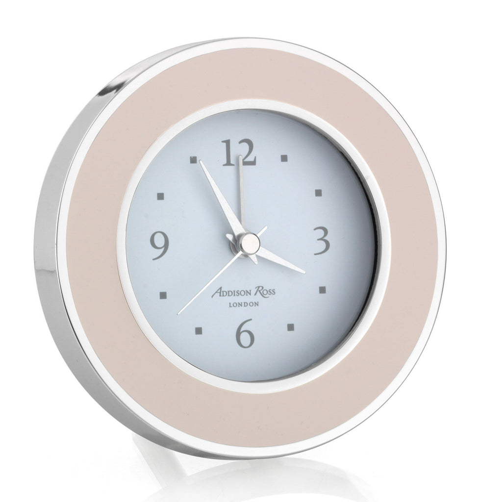 Light Pink & Silver Silent Alarm Clock - Addison Ross Ltd UK