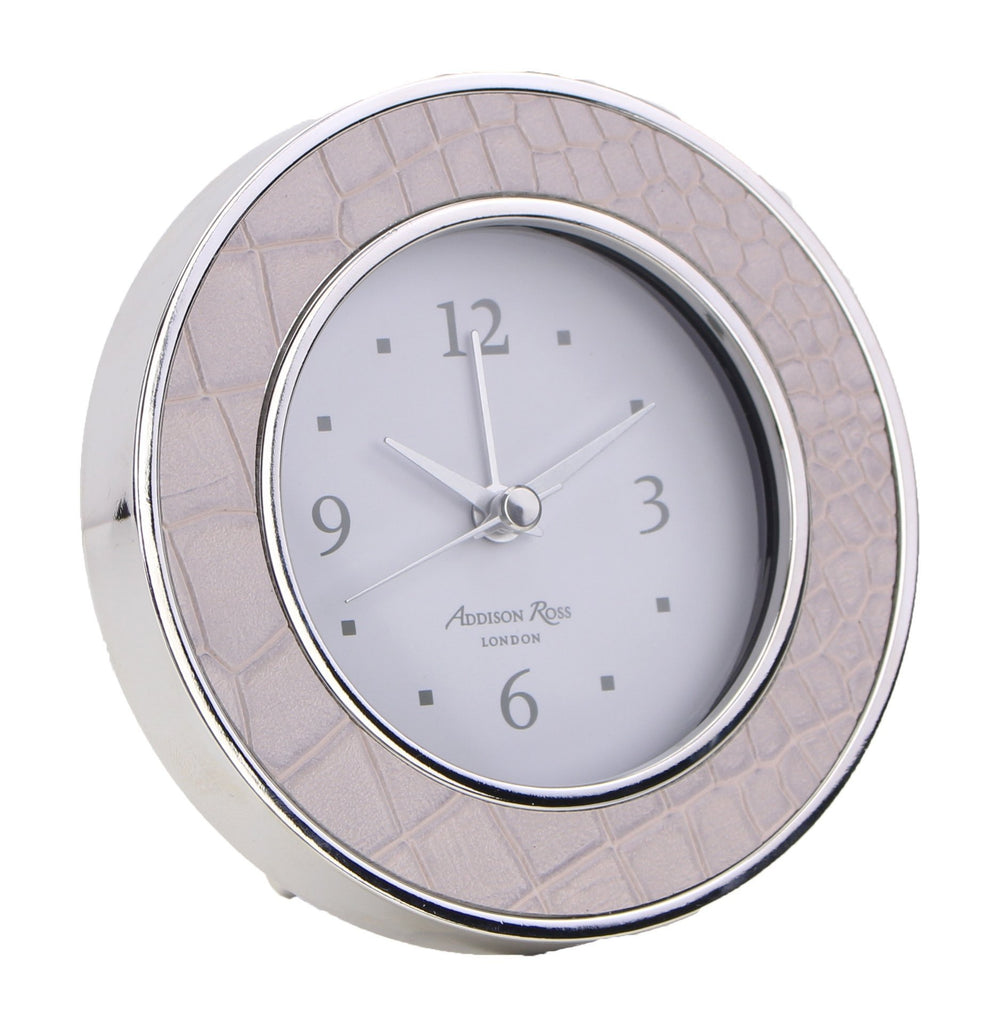 Mocha Croc Silver Silent Alarm Clock - Addison Ross Ltd UK