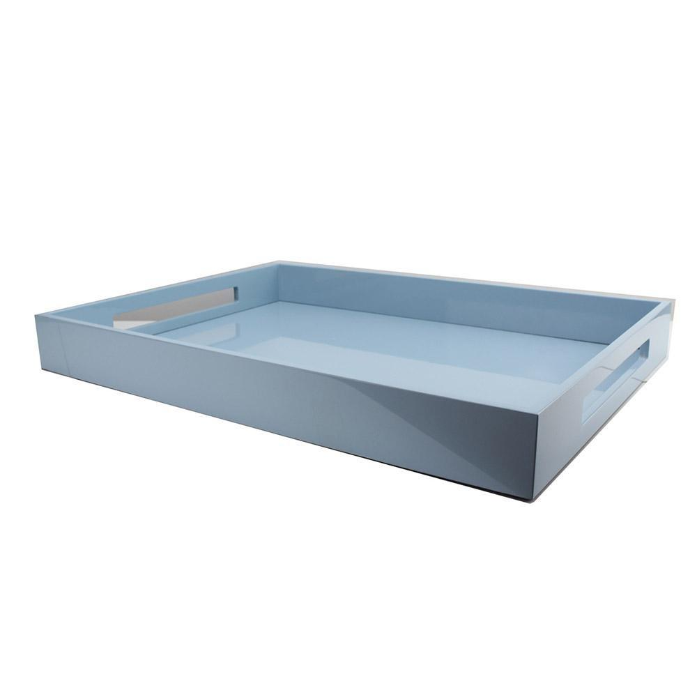 Pale Denim Blue Large Lacquered Ottoman Tray - Addison Ross Ltd UK
