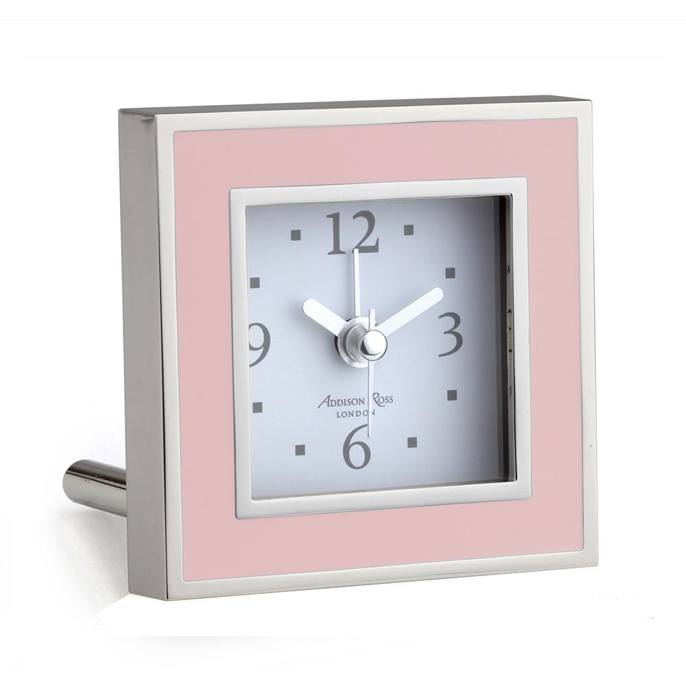 Pink Enamel Square Alarm Clock - Addison Ross Ltd UK