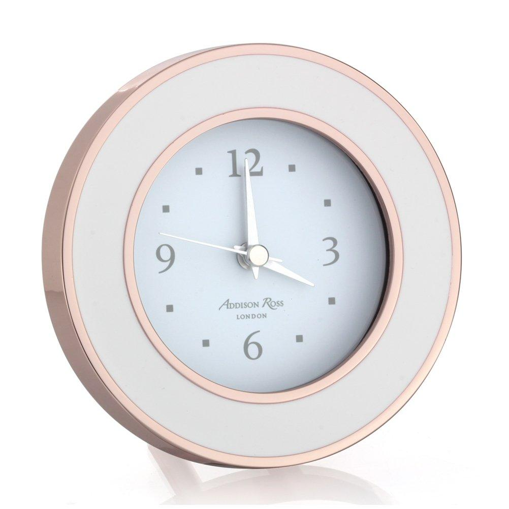 Rose Gold & White Silent Alarm Clock - Addison Ross Ltd UK