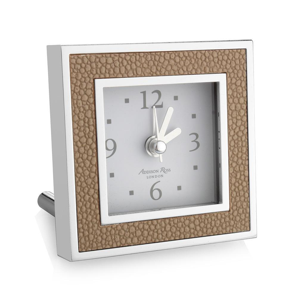 Sand Shagreen Square Alarm Clock - Addison Ross Ltd UK