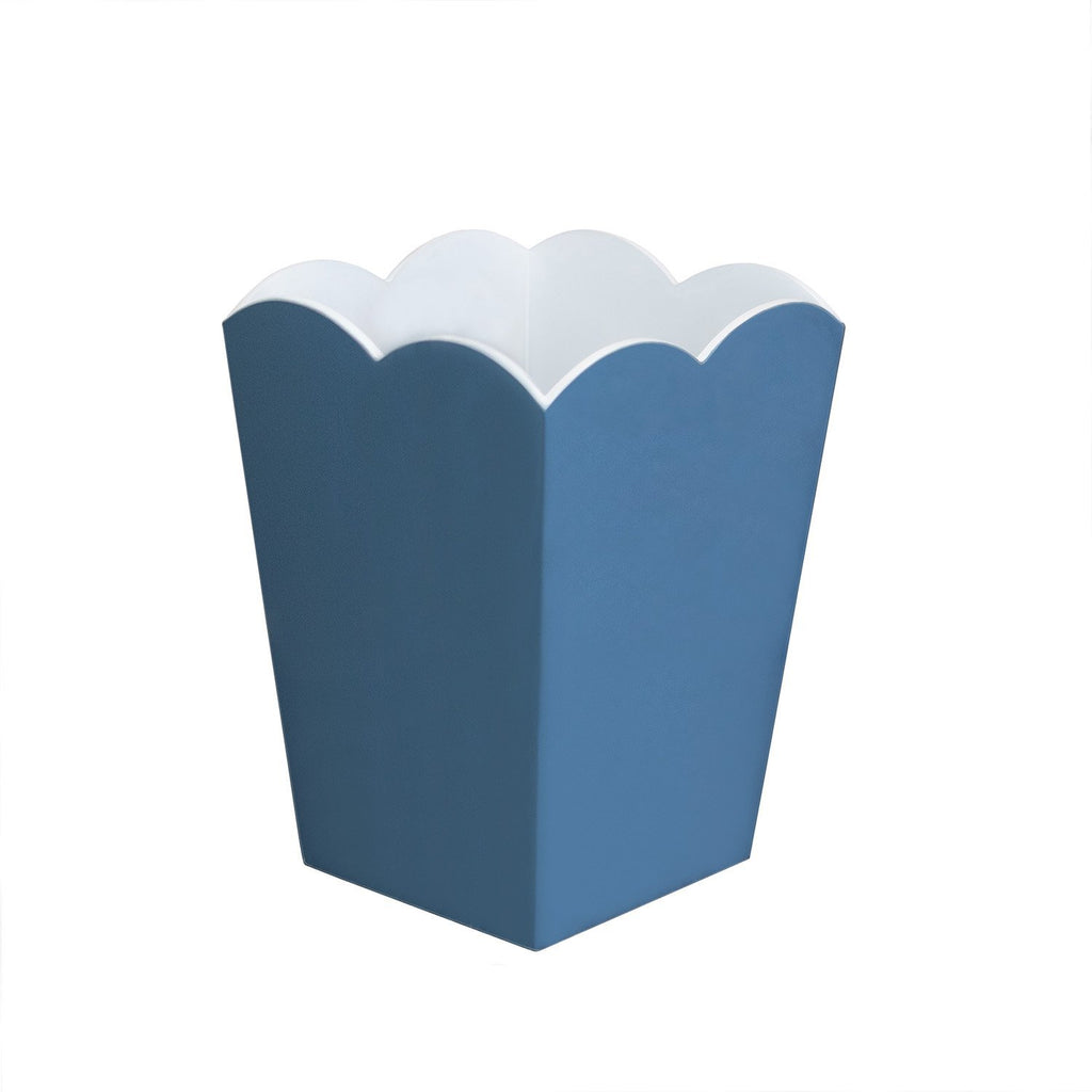 Scalloped Lacquer Bin – Denim & White - Addison Ross Ltd UK