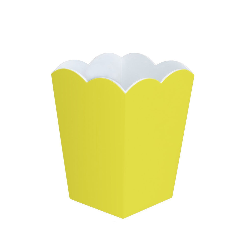 Scalloped Lacquer Bin – Yellow & White - Addison Ross Ltd UK