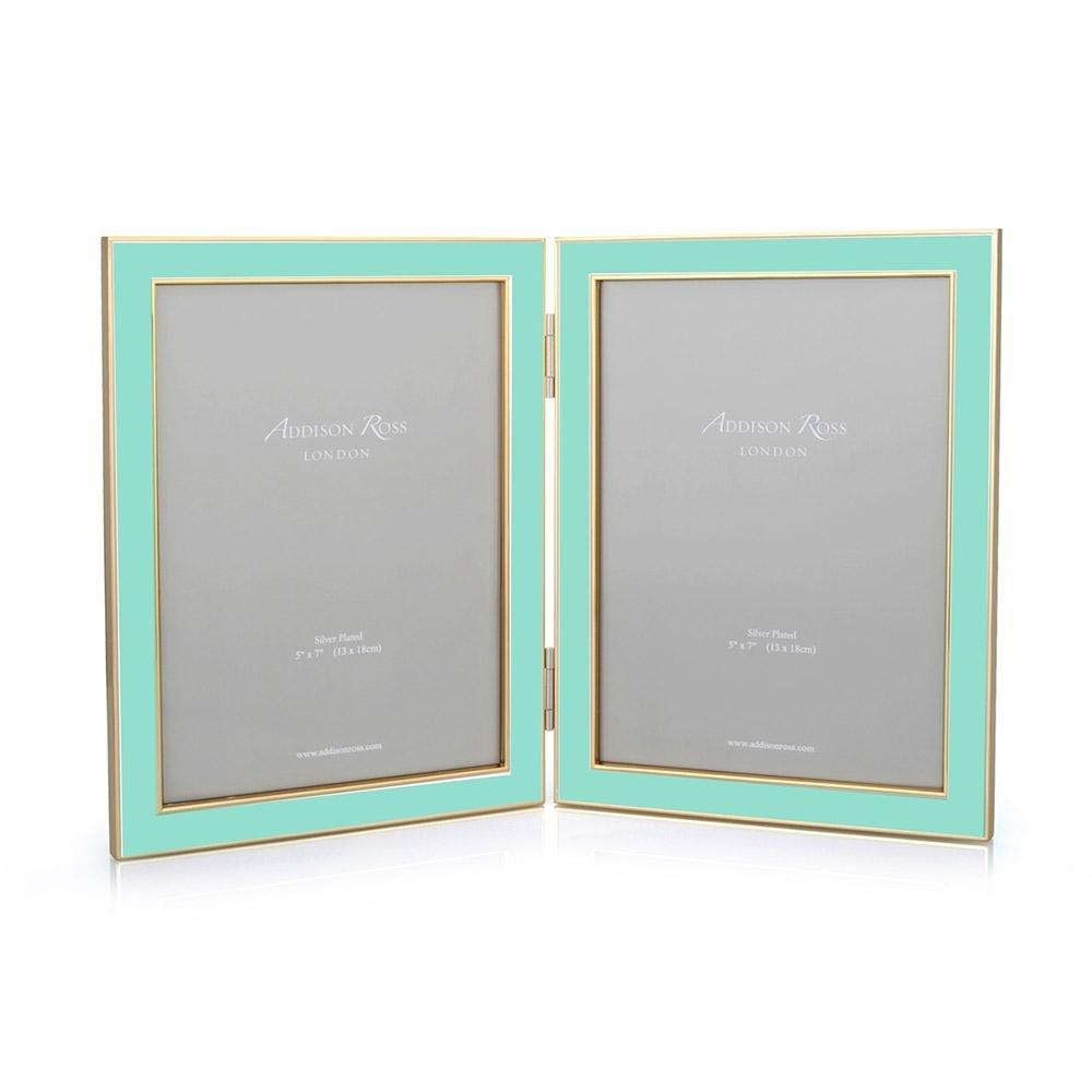 Turquoise Blue Enamel & Gold Double Frame - Addison Ross Ltd UK