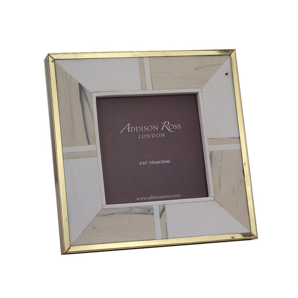 White Bone 4 x 4 Photo Frame With Brass Border - Addison Ross Ltd UK