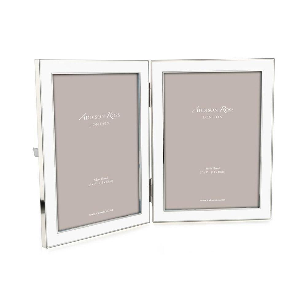 White Enamel & Silver Double Frame - Addison Ross Ltd UK