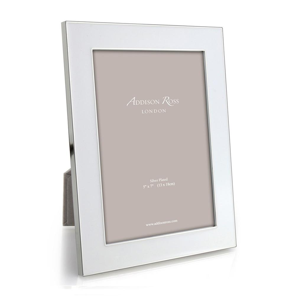 White Enamel & Silver Wide Frame - Addison Ross Ltd UK