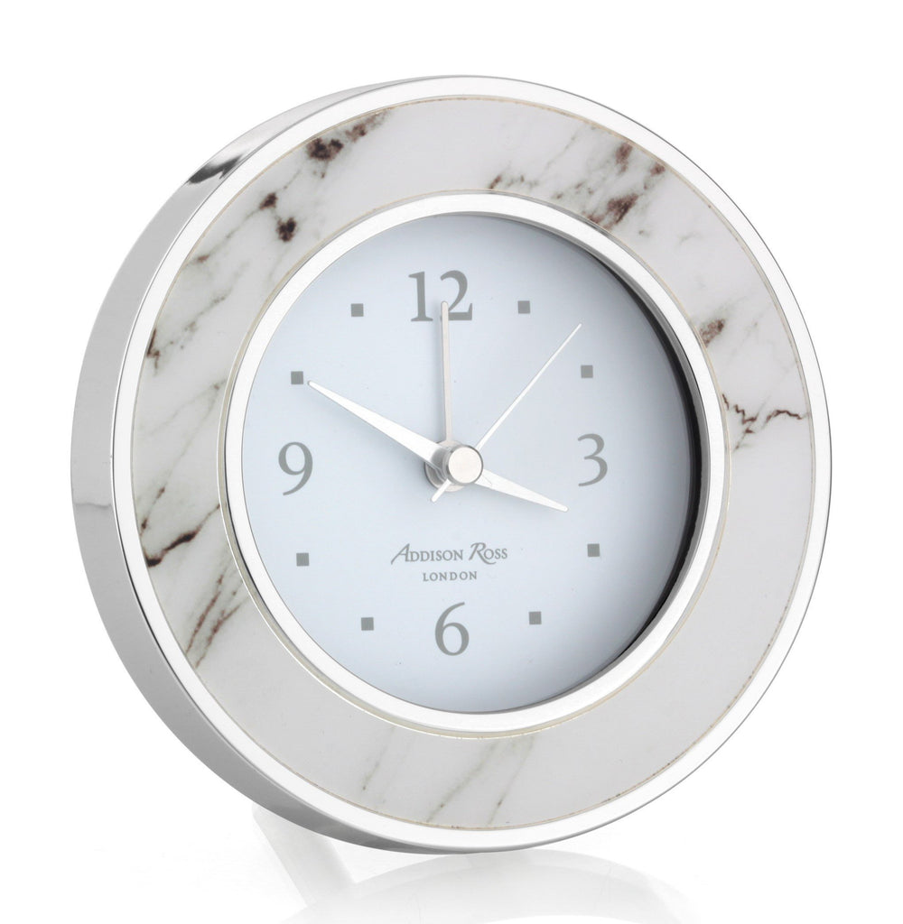 White Marble Silver Alarm Clock - Addison Ross Ltd UK