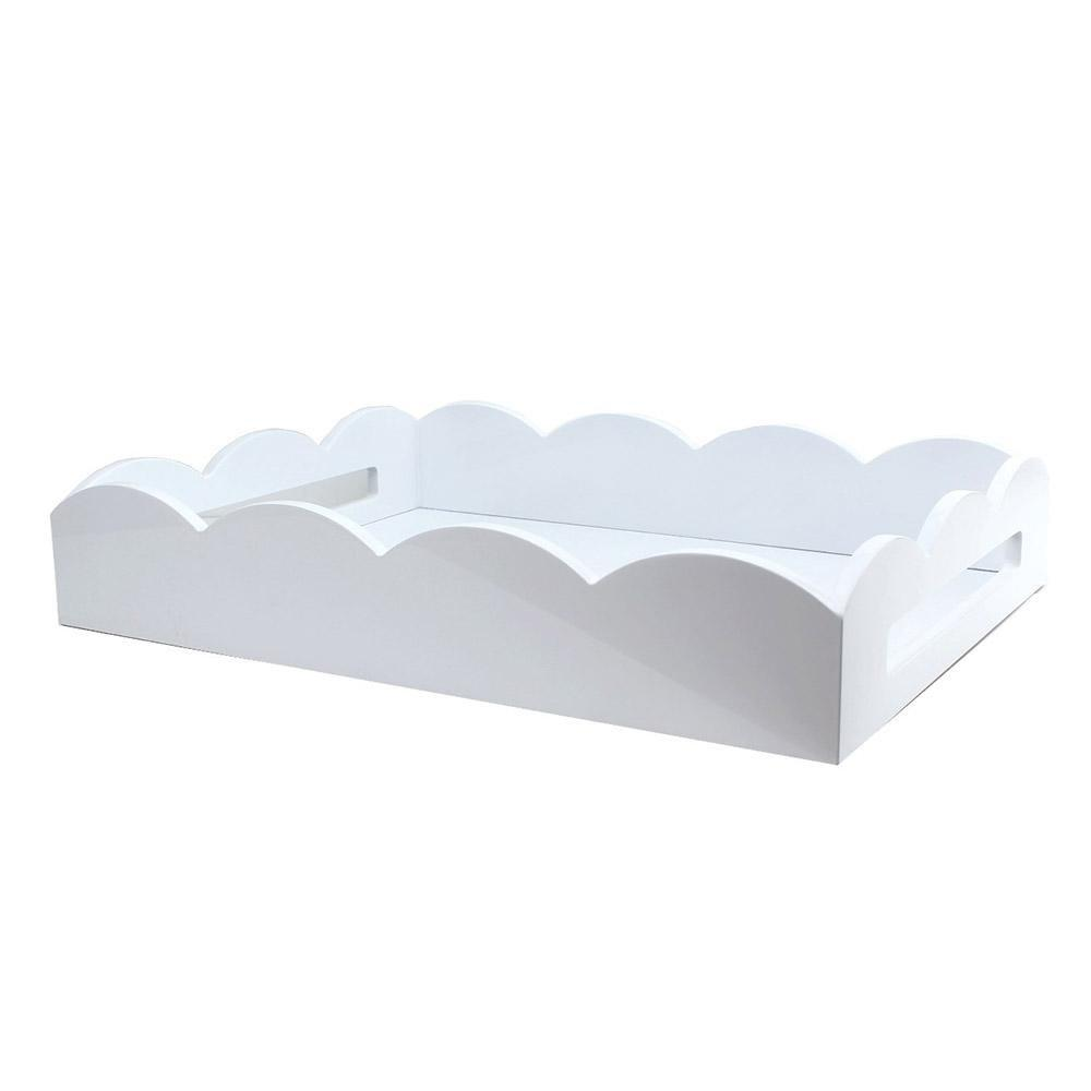 White Medium Lacquered Scallop Serving Tray - Addison Ross Ltd UK