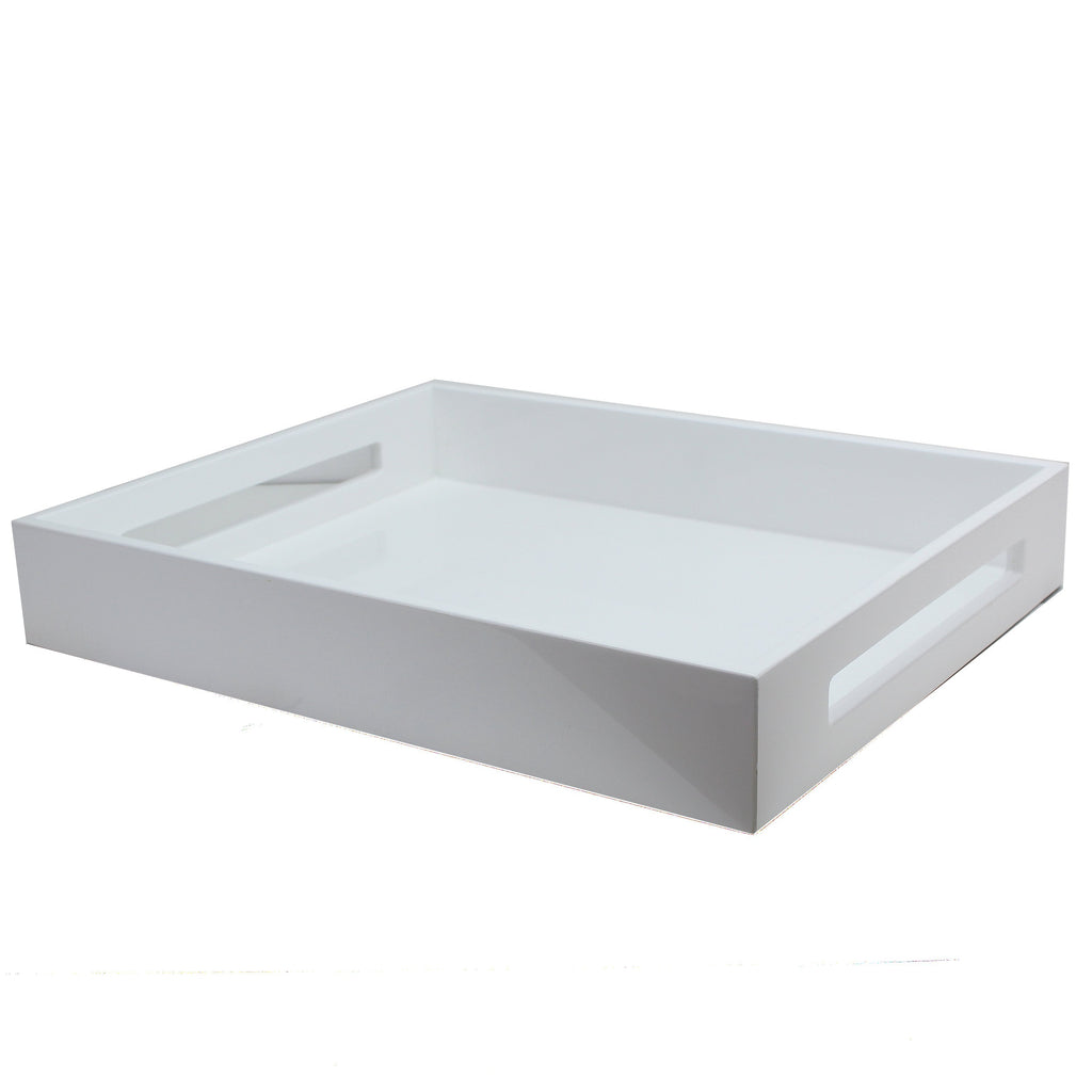 White Medium Lacquered Serving Tray - Addison Ross Ltd UK
