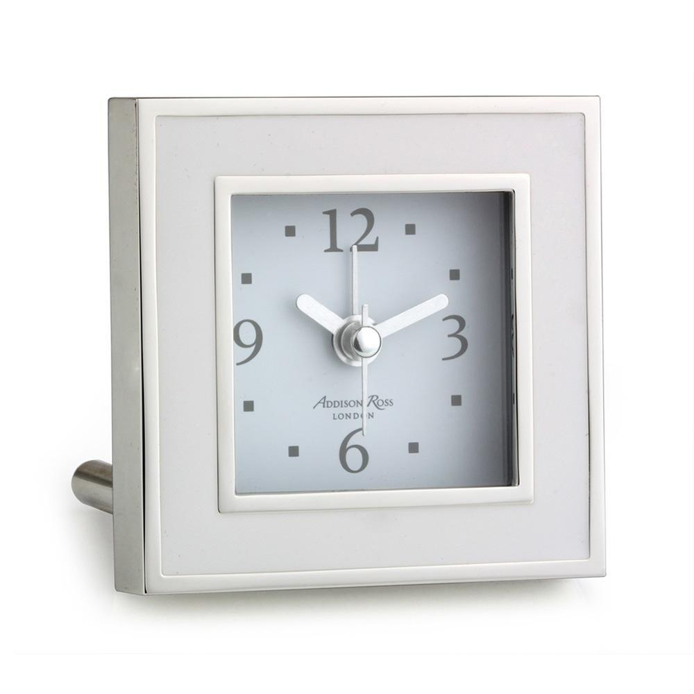 White & Silver Square Silent Alarm Clock - Addison Ross Ltd UK