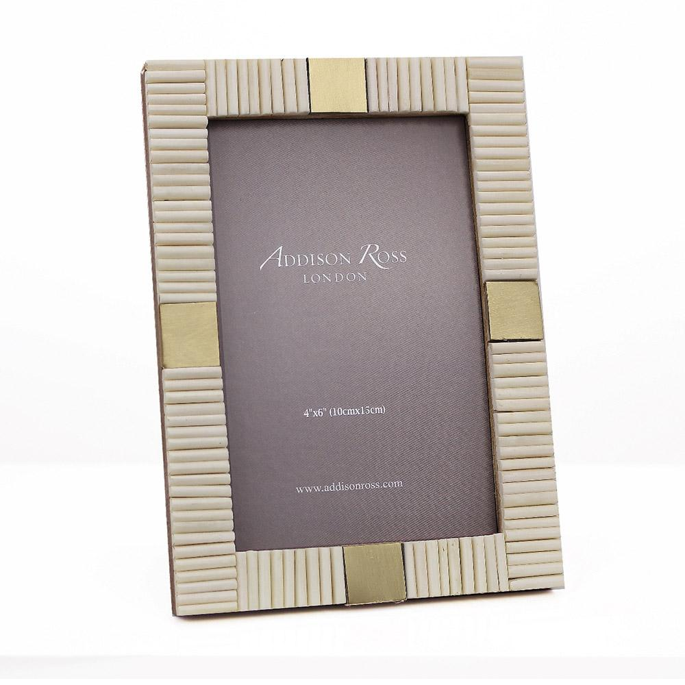 White Striped Bone 4 x 6 Photo Frame - Addison Ross Ltd UK