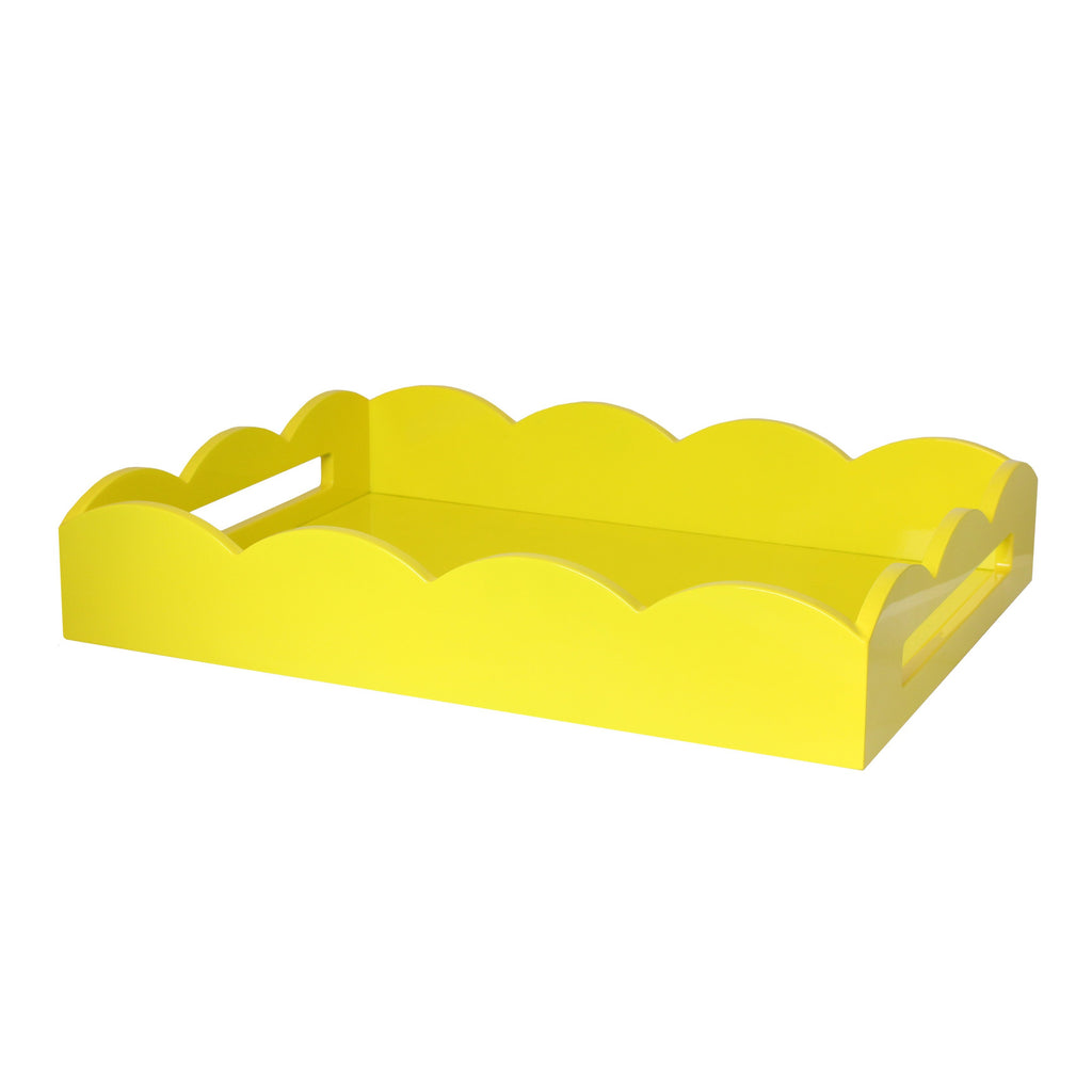 Yellow Medium Lacquered Scallop Serving Tray - Addison Ross Ltd UK
