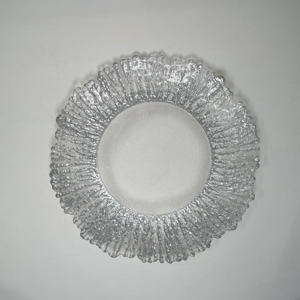 Silver Glass Plates - 33CM