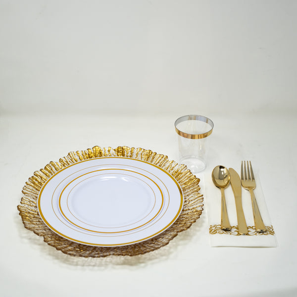 175 PCs Plastic Dinnerware set - Gold