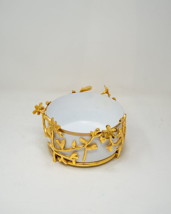 White and Gold Decorative Bowl.