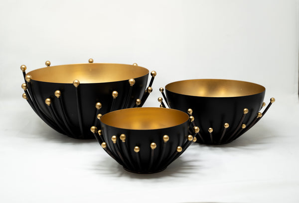 3 Piece Gold Decorative Bowl.