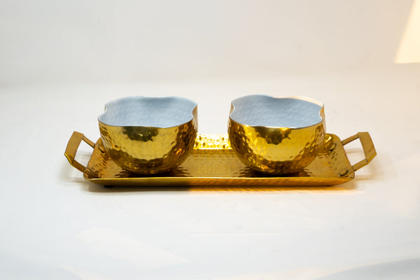 Gold Three Piece Serving Tray