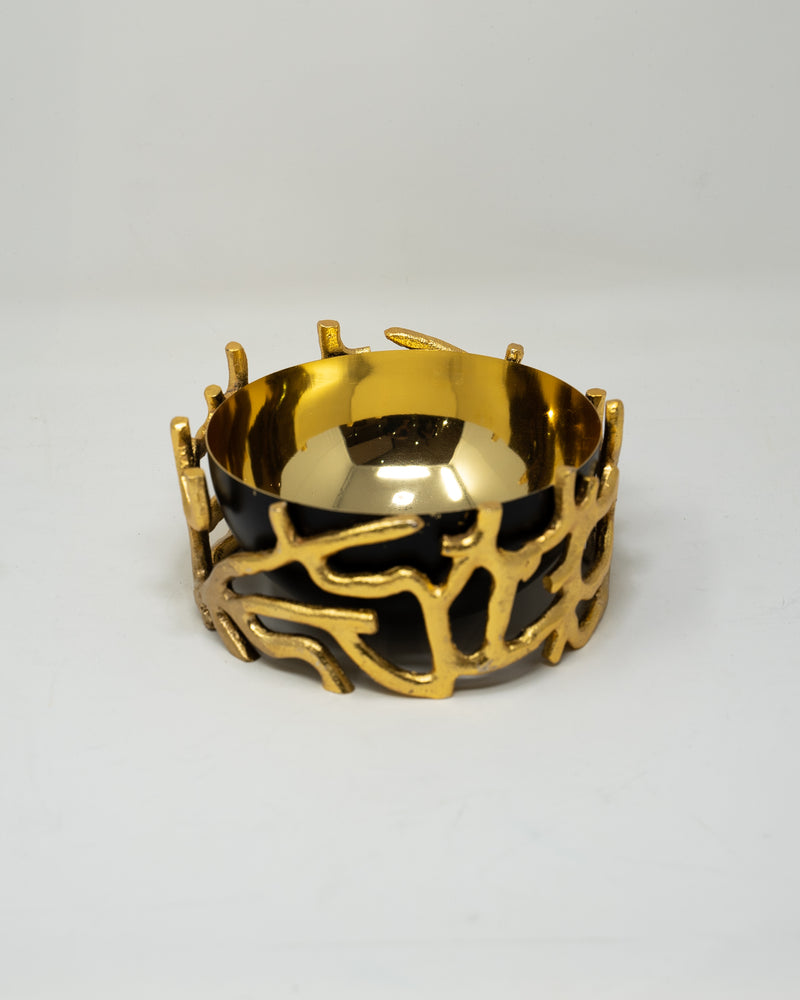 Gold and Black Decorative Bowl.