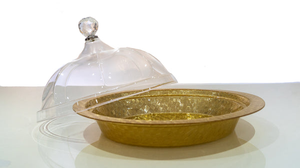 Nut Tray With Lid - Gold