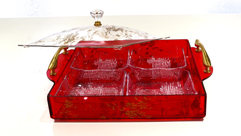 Nut Tray With Lid - Red
