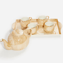 Coffee Cup Set & Tray - Gold