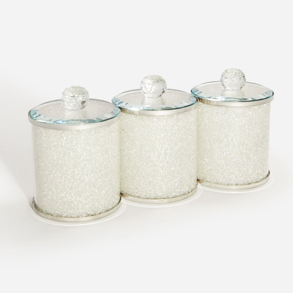 Set of three silver tea coffee jars.