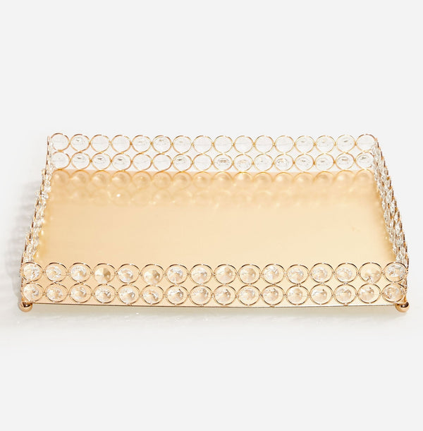 Square Metal & Glass Tray - Gold