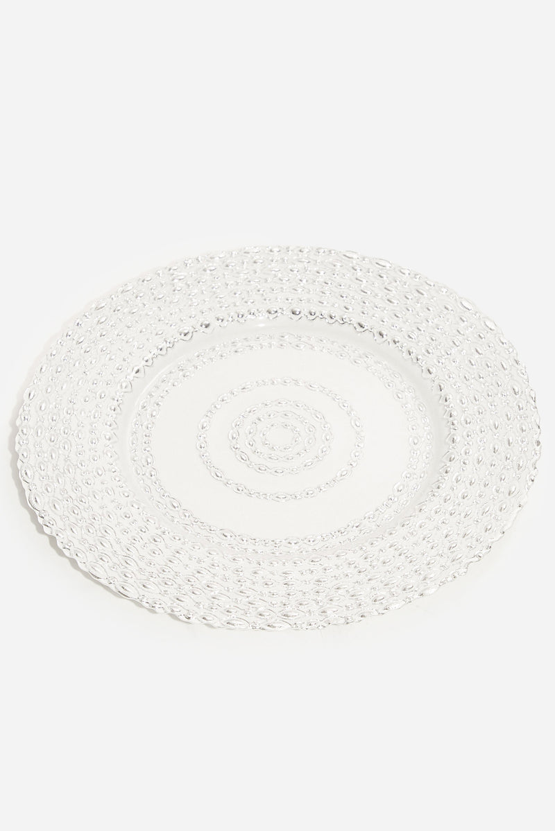 Glass Cake Plate - Silver
