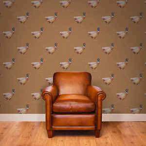 Mitch - Hand Painted Mid-Brown Pheasant Wallpaper