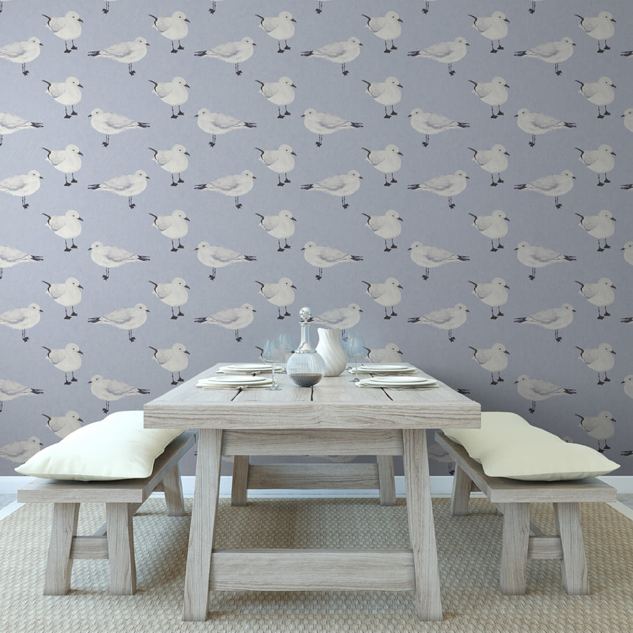 The Gare - Hand Painted Blue, White and Grey Seagull Wallpaper