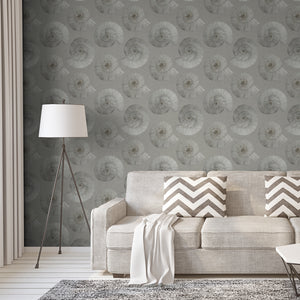 Stonegrave (Large) - Hand Painted Grey Ammonite Fossil Wallpaper