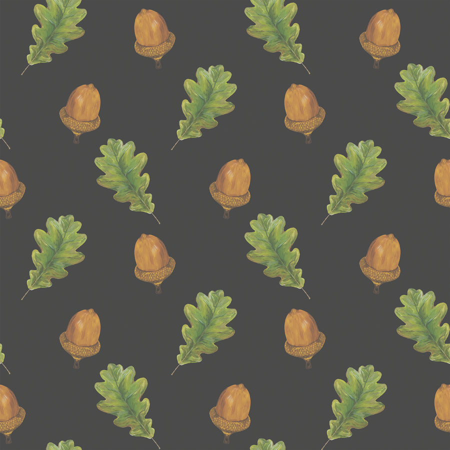 Walk in the Woods (Brown / Black) - Hand Painted Acorn & Oak Leaf Wallpaper