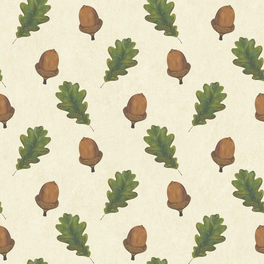 Walk in the Woods (Cream) - Hand Painted Acorn & Oak Leaf Wallpaper